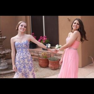 Flirt by Maggie Sottero Dresses - Breathtaking Blush Nude and French Blue Prom Dress